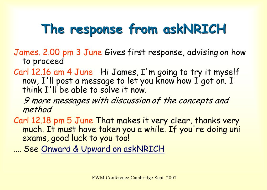 The response from askNRICH