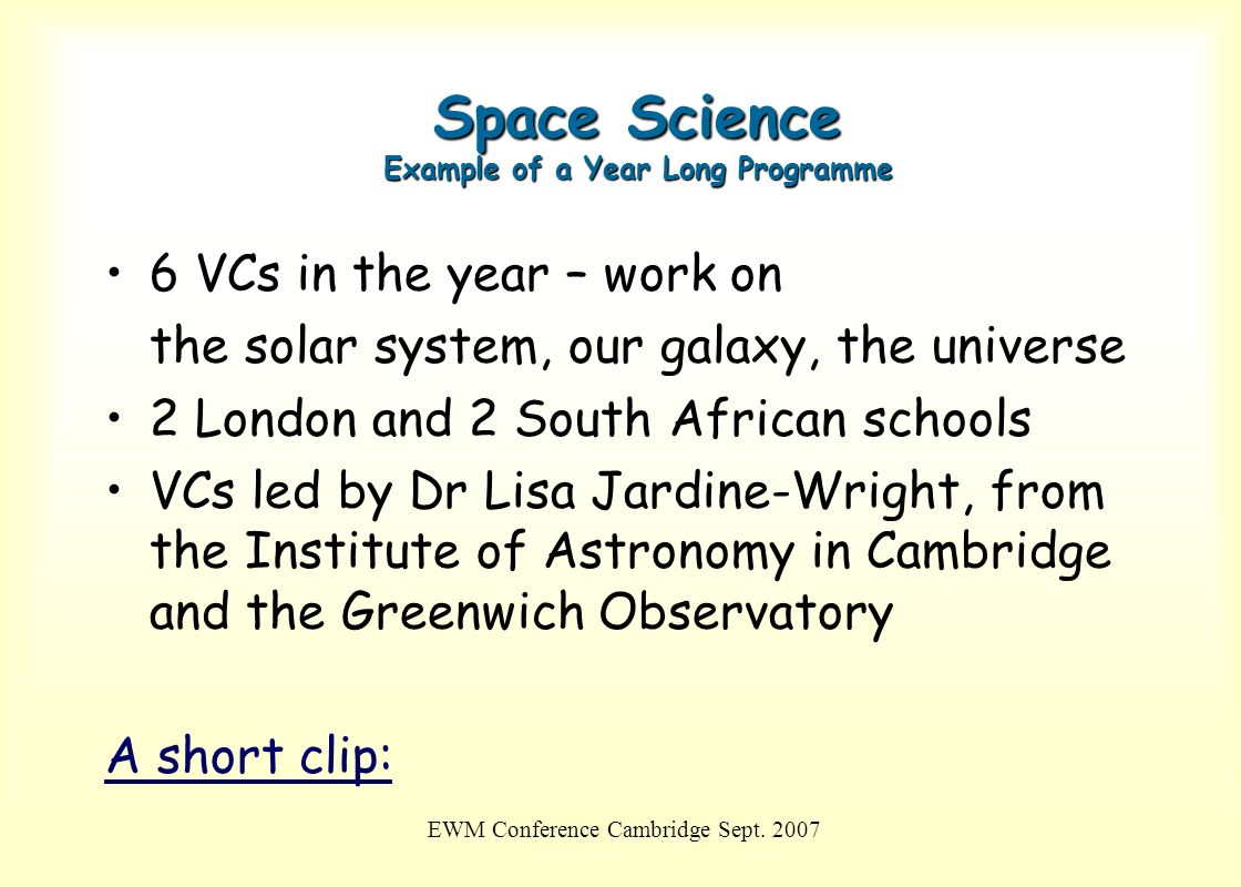 Space Science Example of a Year Long Programme
