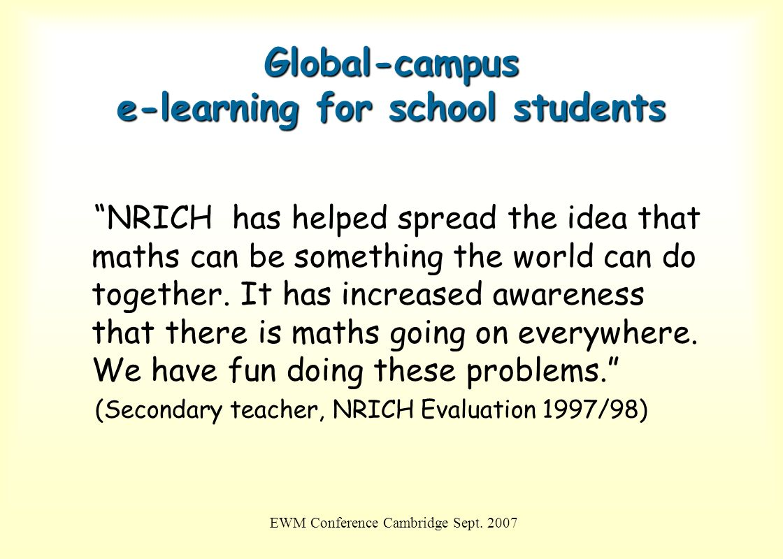 Global-campus e-learning for school students