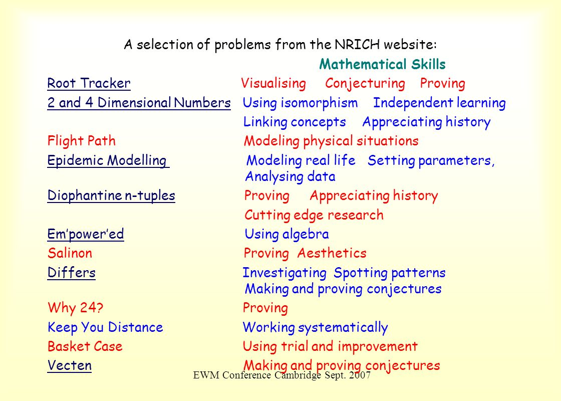 A selection of problems from the NRICH website: Mathematical Skills