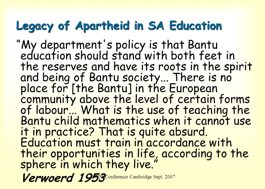 Legacy of Apartheid in SA Education
