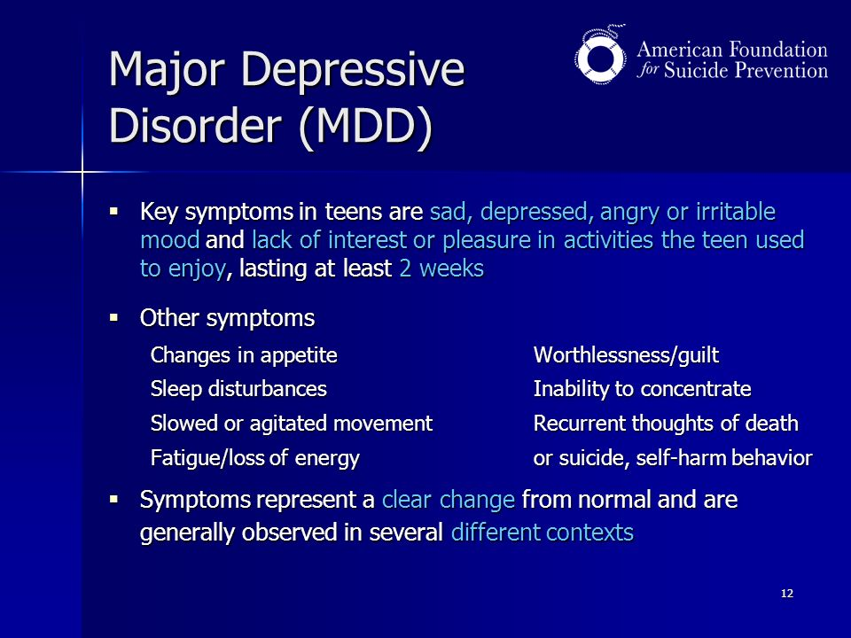 major depressive disorder Depressive disorder an estimated 16 million american adults—almost 7% of the population—had at least one major depressive episode in the past year.