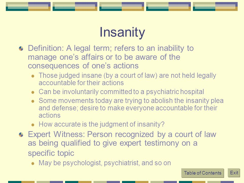 abolish the insanity defense Identify four states that do not recognize an insanity defense legal insanity functions as a perfect defense abolished as an affirmative defense after.