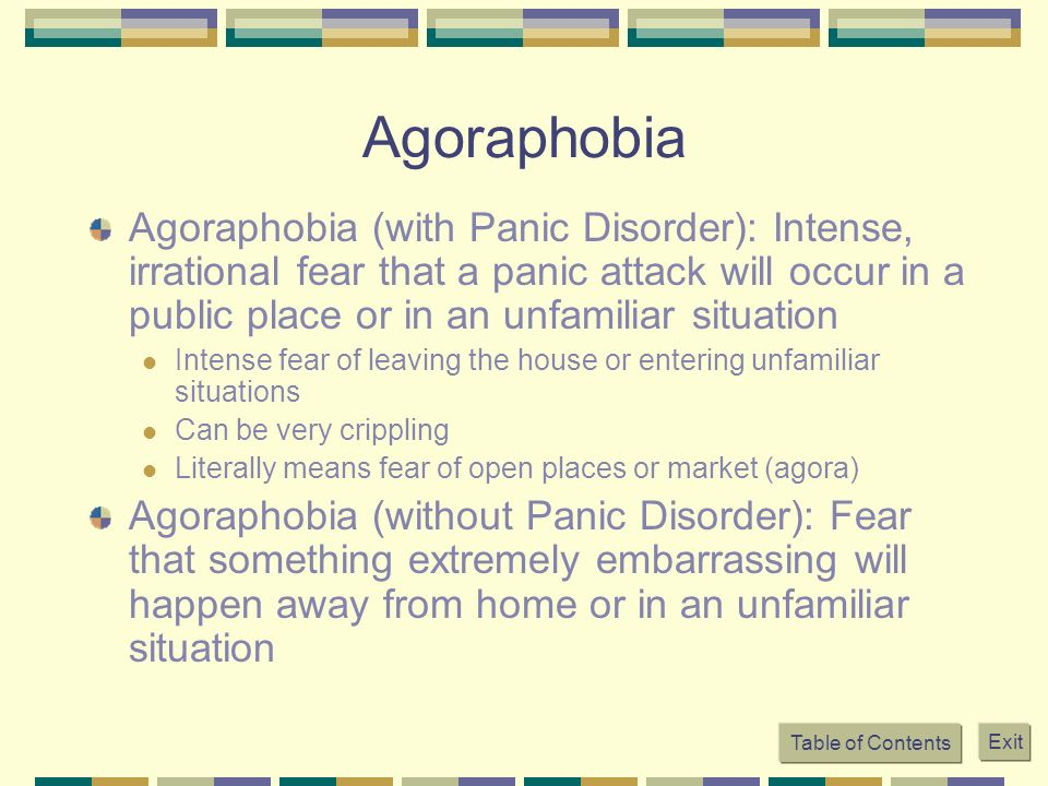 panic disorder with agoraphobia psychology essay 'department of clinical and physiological psychology, university of  summary- biological models have had major consequences for the therapy and  sheehan , for example, argues for a biological explanation for panic disorder (sheehan.