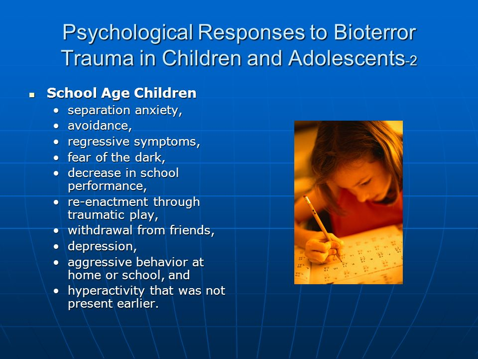 trauma in children and adolescents From the children, youth and families office and the apa task force on post-traumatic stress disorder and trauma in children and adolescents we live in an era in which many children, adolescents and their families in american society are exposed to traumatic life events.