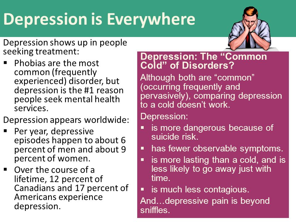 depression as one of the most common psychological problems among americans Certain mental health disorders are more prevalent in women than in men  if  you are a woman experiencing depression, an anxiety disorder, or another   mental health services administration, 29 million american women, or about   girls are also sexually abused more often than boys, and one in five.