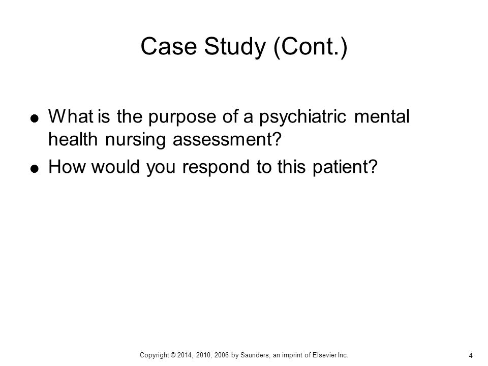 psychiatric case studies nursing Case studies product sampler preface preface thomson delmar learning's case studies series was created to encourage nurses to bridge the gap between content knowledge and clinical application.
