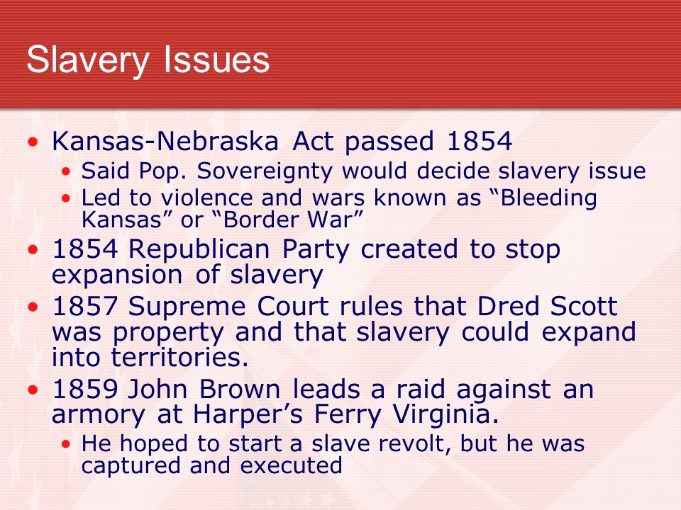 an overview of the fugitive slave act and the kansas nebraska act -before the fugitive slave act, slaves were able to run away to free states and gain their freedom this act took away all hope for the slaves.