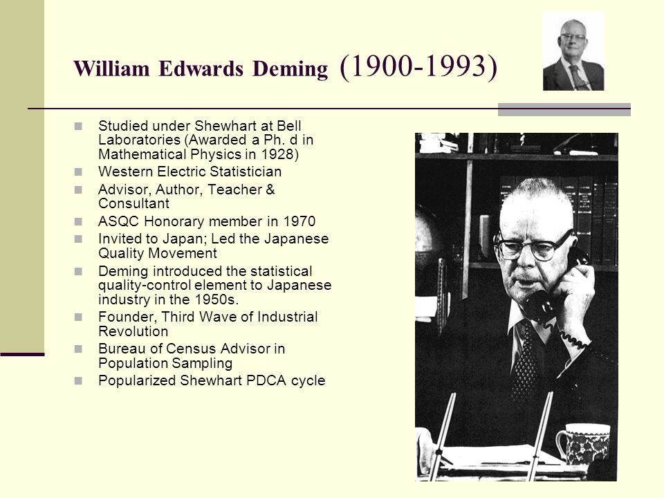 edwards deming management philosophy In the beginning, there were deming and juran by phil landesberg if ever there was a dream team on quality in the workplace, it would be made up of w edwards deming.