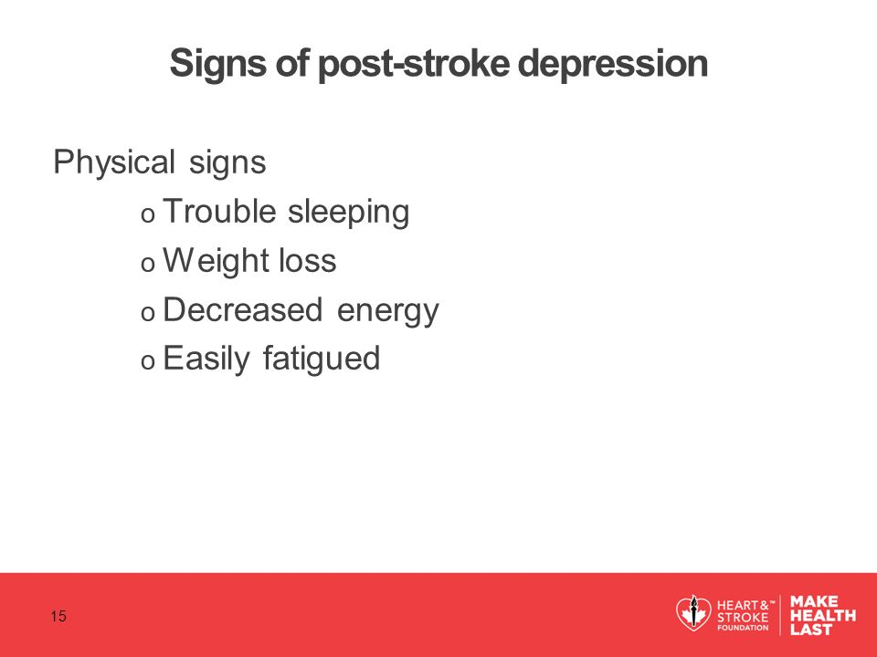 Signs of post-stroke depression