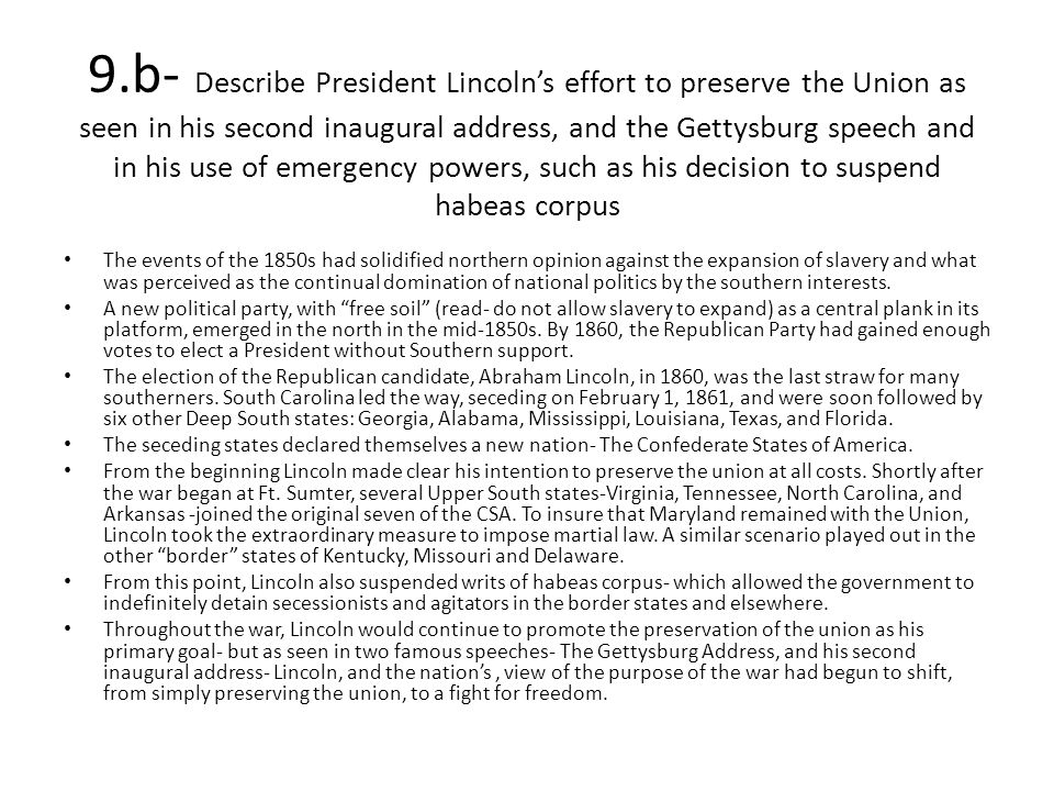 lincolns efforts to preserve the union essay But in an essay collected in lincoln: a president for the ages, lincoln  the war —the preservation of the union, which was popular, and the.