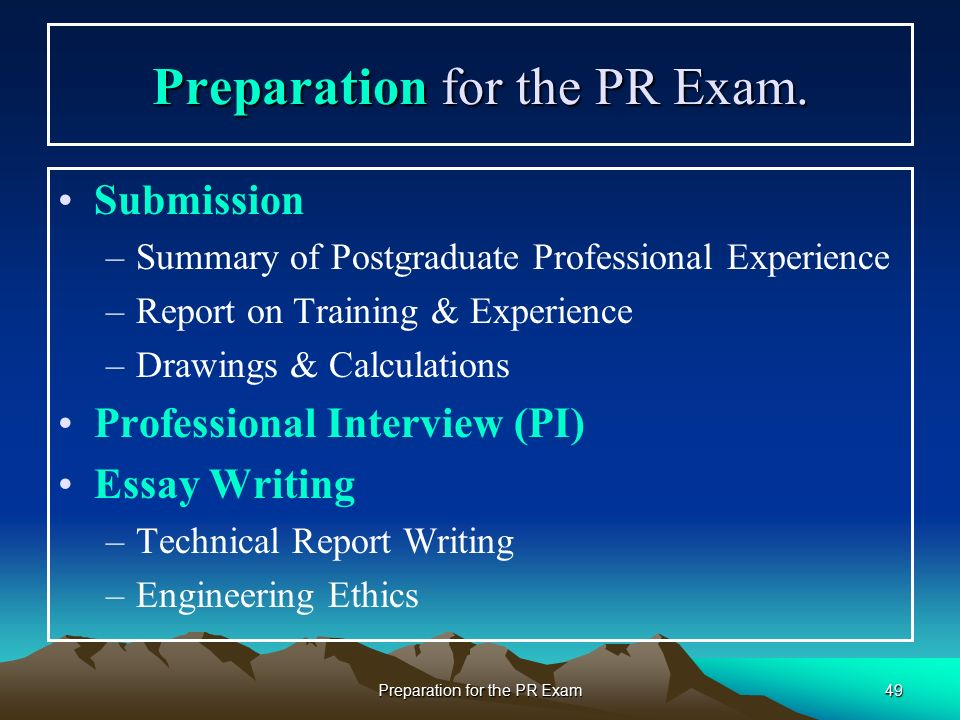 preparation for the professional review examination in engineering  49 preparation