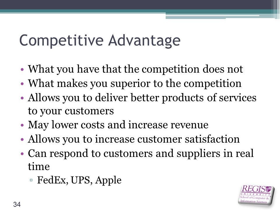 ups competitive advantage No, the postal service isn't just lending a helping hand to its commercial  competitors rather, ups and fedex take advantage of the postal.