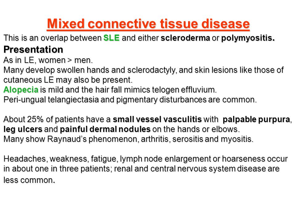 Connective mixed tissue pictures disease