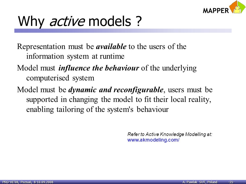 Why active models Representation must be available to the users of the information system at runtime.