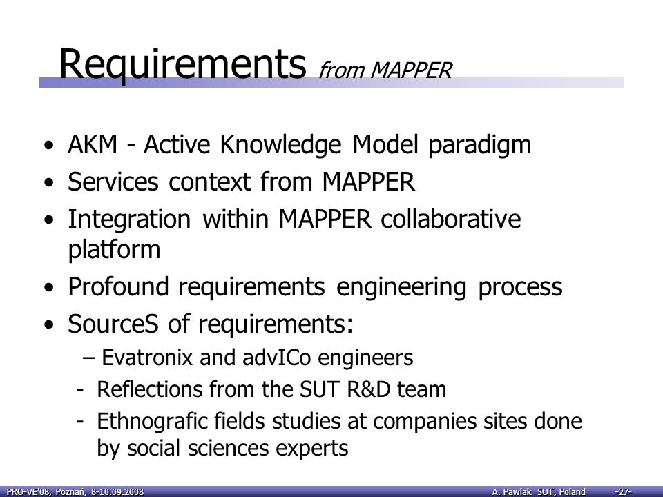 Requirements from MAPPER