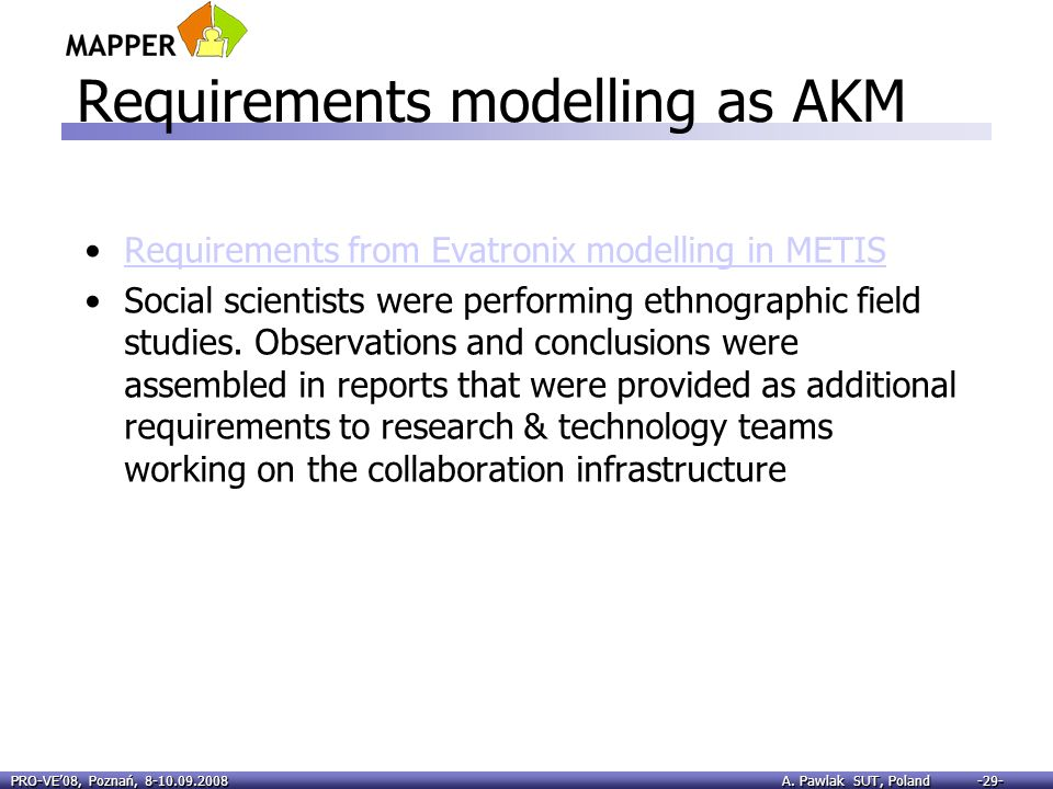 Requirements modelling as AKM
