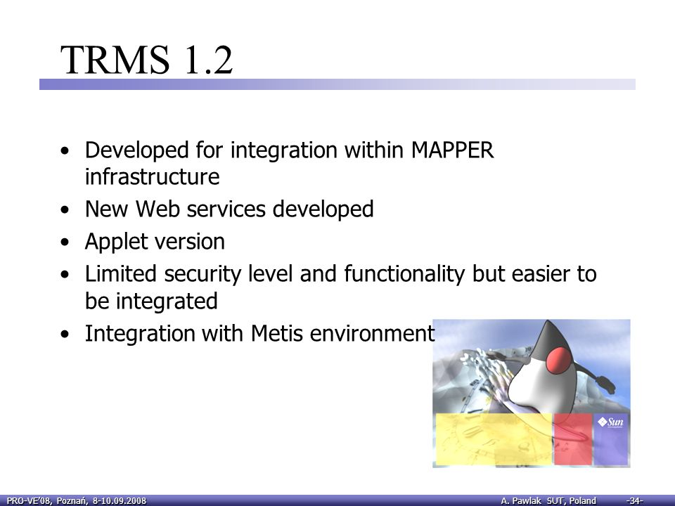 TRMS 1.2 Developed for integration within MAPPER infrastructure