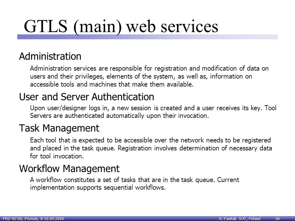 GTLS (main) web services