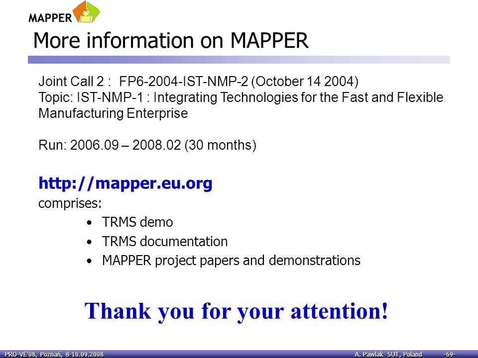 More information on MAPPER
