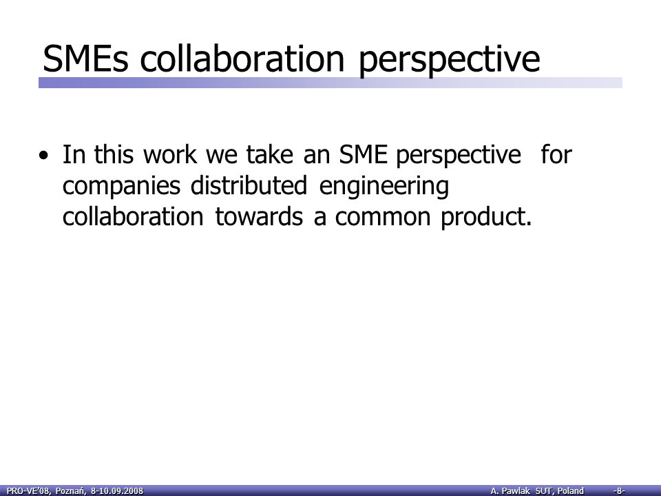 SMEs collaboration perspective