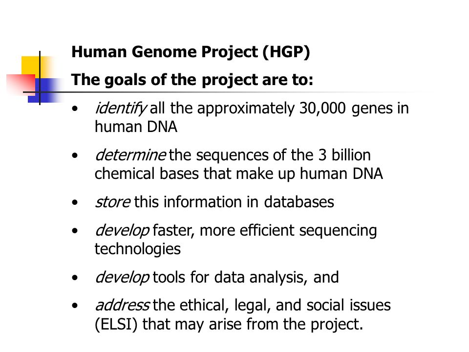 the issues surrounding the human genome project In april 2003, headlines around the world announced a momentous scientific achievement: the completion of the human genome projectan international consortium of researchers had finished compiling the sequence of 3 billion base pairs — or letters that spell out the genetic code — in everyone's dna.