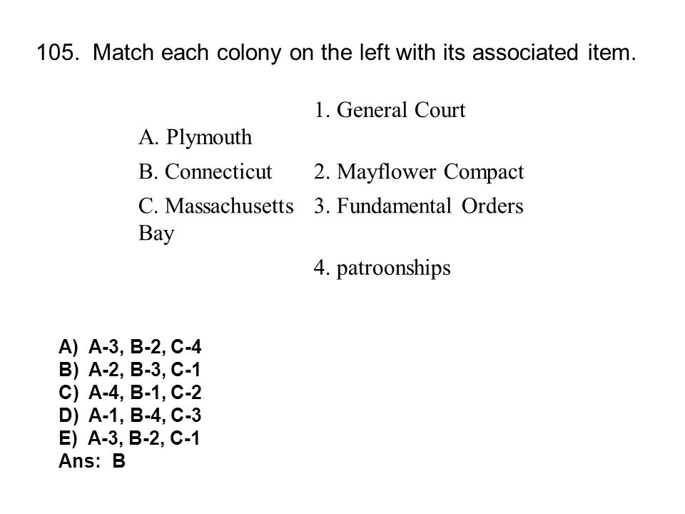 105. Match each colony on the left with its associated item.