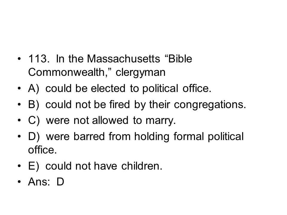 113. In the Massachusetts Bible Commonwealth, clergyman