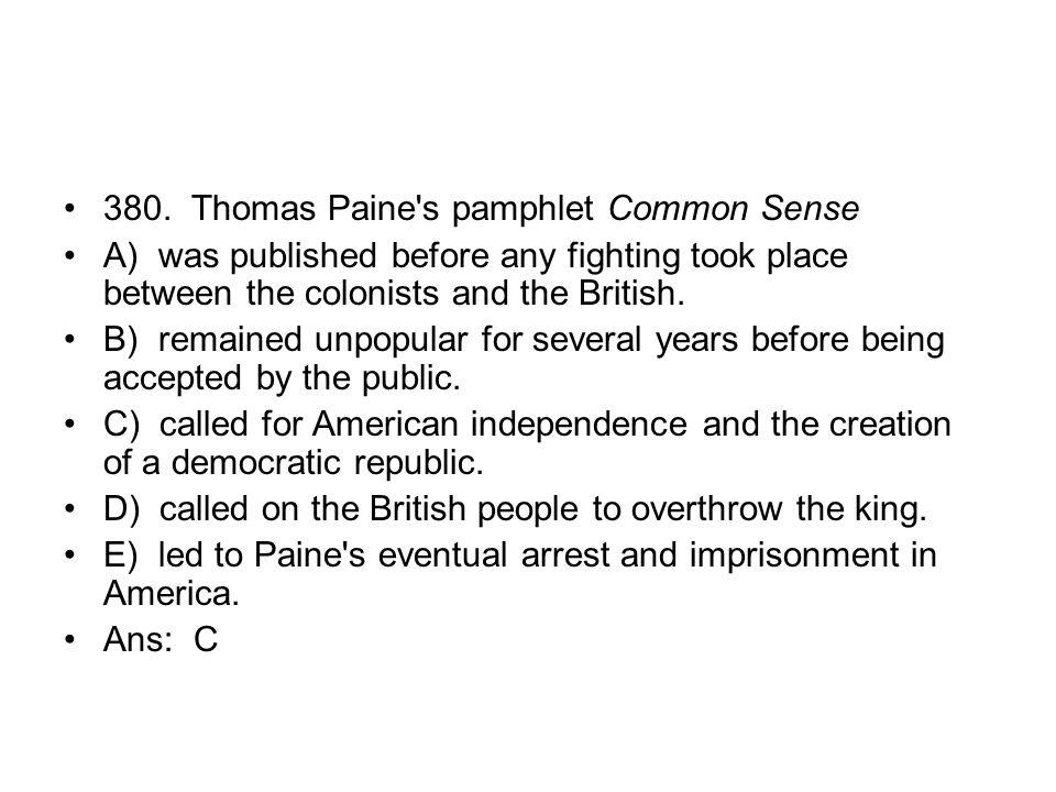 380. Thomas Paine s pamphlet Common Sense