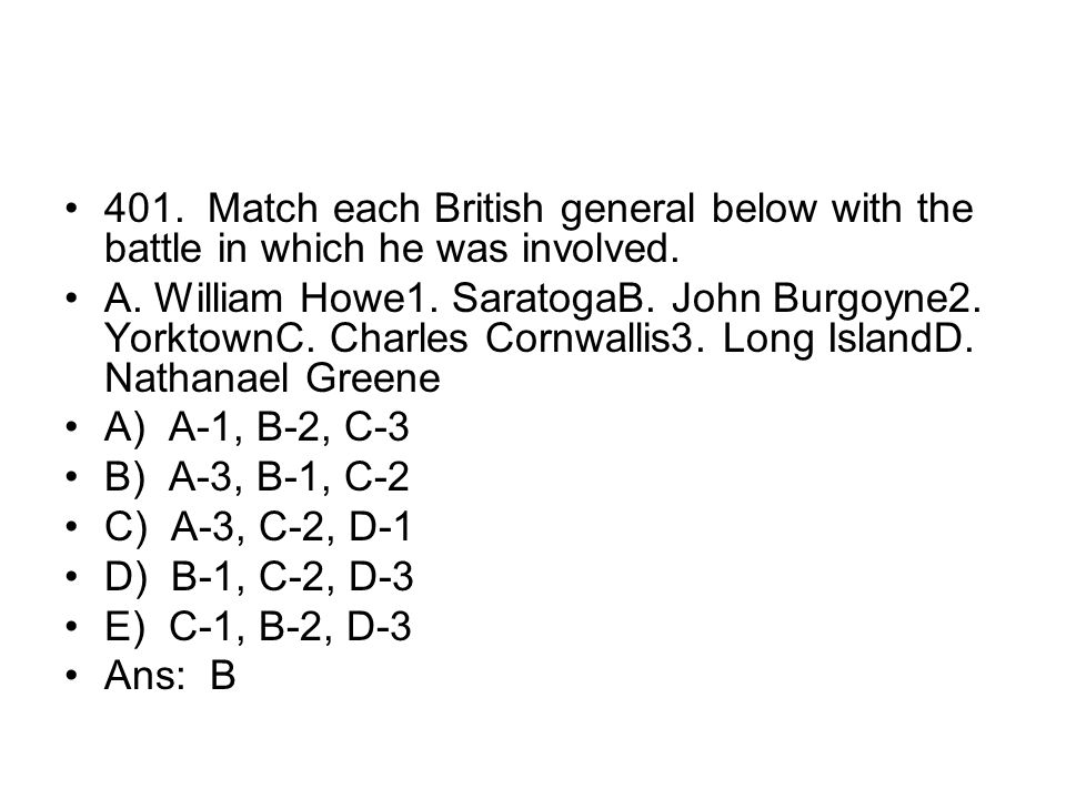 401. Match each British general below with the battle in which he was involved.