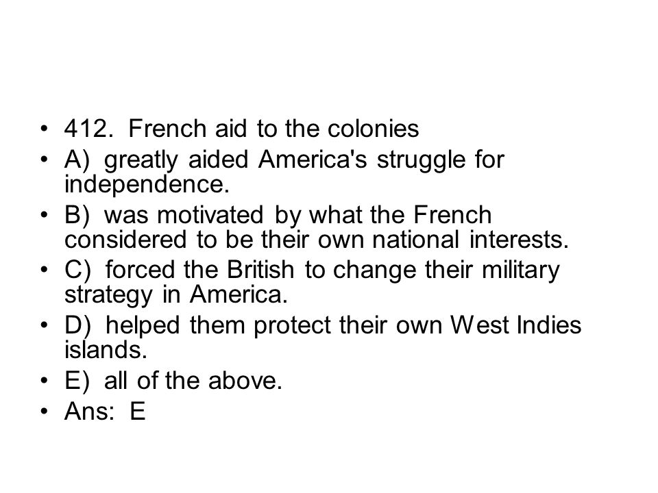 412. French aid to the colonies