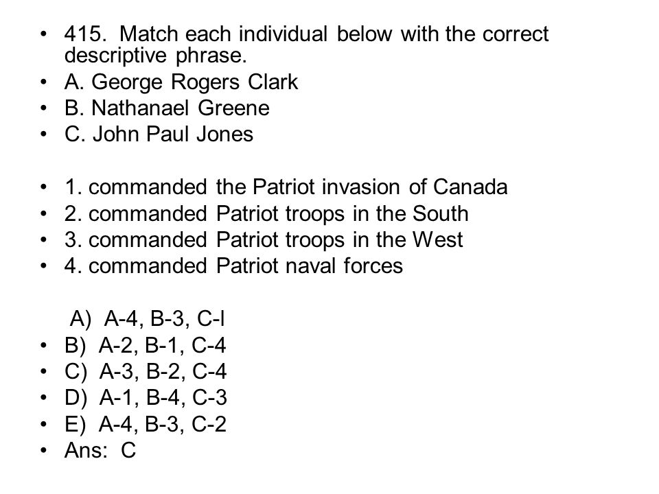 415. Match each individual below with the correct descriptive phrase.