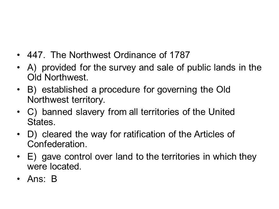 447. The Northwest Ordinance of 1787