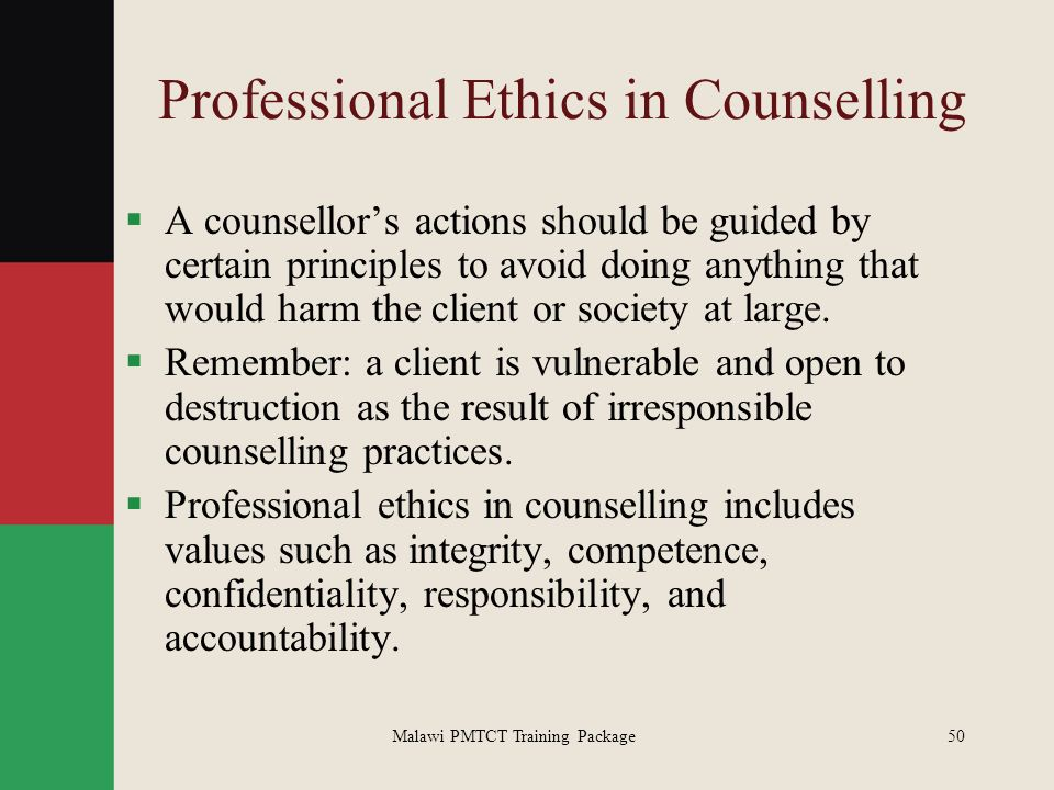 Professionalism and ethics in counselling