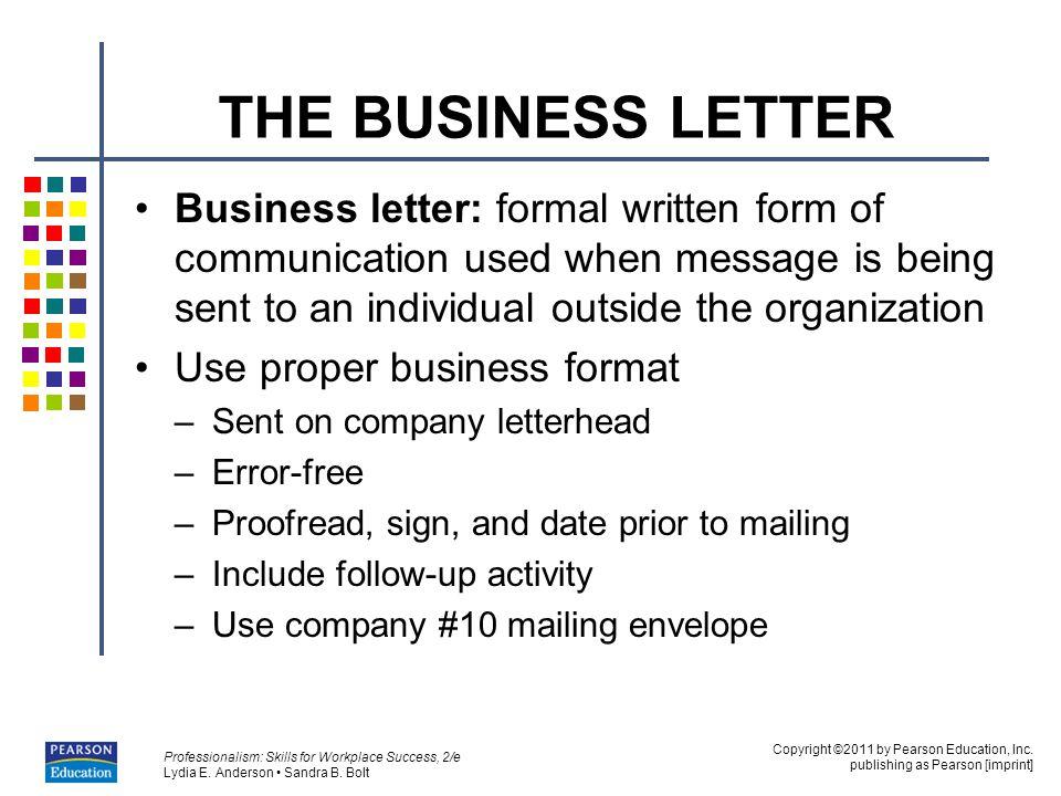 proper form for a business letter