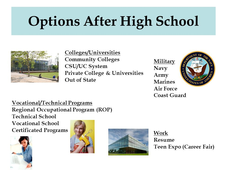 college options after high school What type of school is the best for what you want to do.
