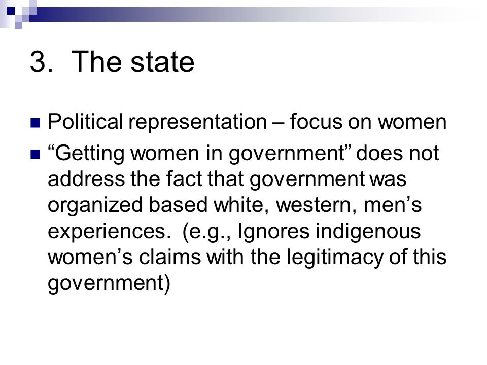 3. The state Political representation – focus on women