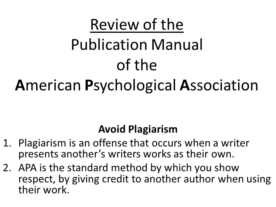 an introduction to the publication manual of the american psychological association Apa stands for american psychological association publication manual of the american psychological association, sixth edition apa style 1.