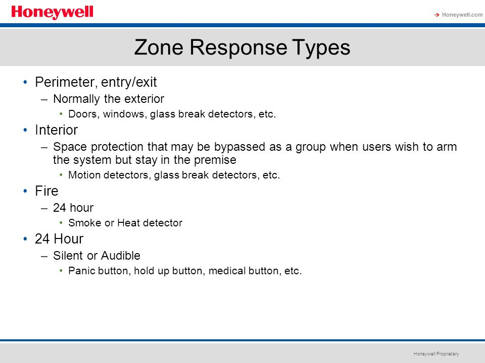 Zone Response Types Perimeter, entry/exit Interior Fire 24 Hour