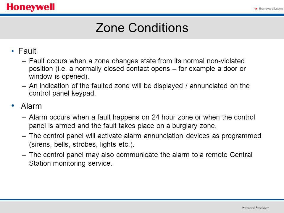 Zone Conditions Alarm Fault