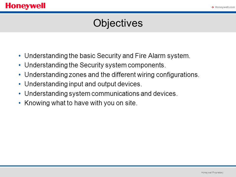 Objectives Understanding the basic Security and Fire Alarm system.