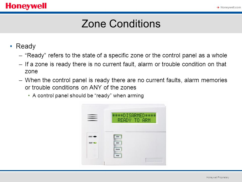 Zone Conditions Ready. Ready refers to the state of a specific zone or the control panel as a whole.