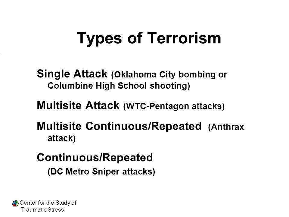 Types of Terrorism Single Attack (Oklahoma City bombing or Columbine High School shooting) Multisite Attack (WTC-Pentagon attacks)