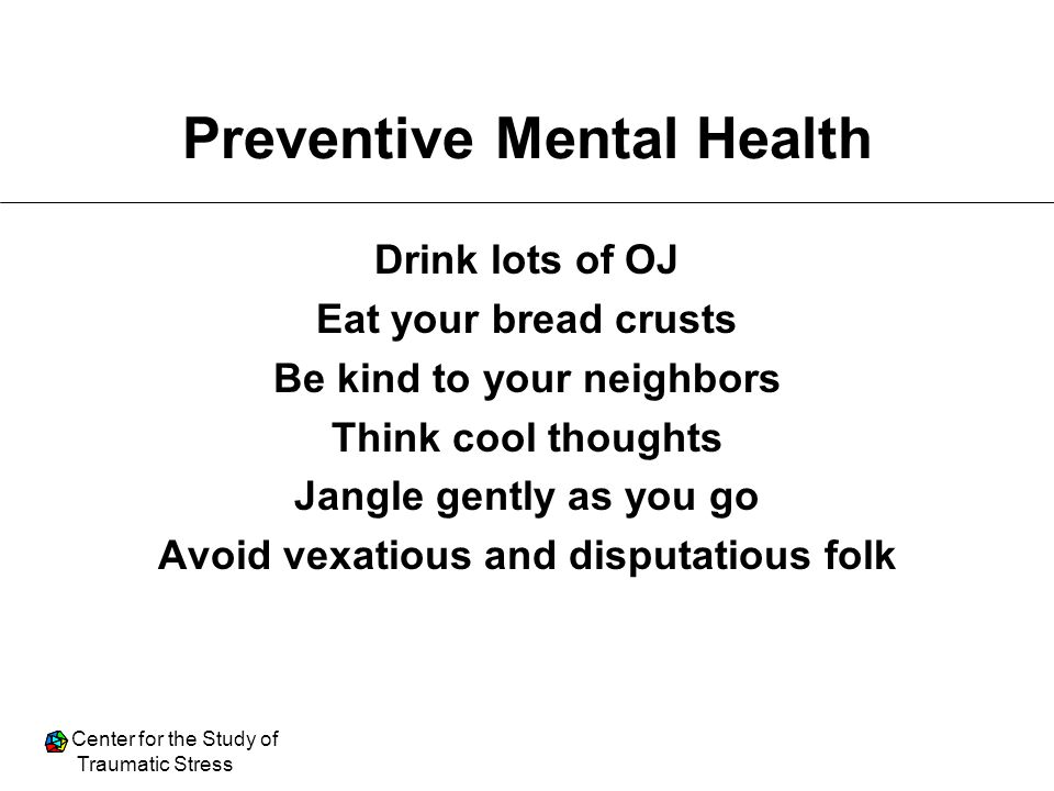 Preventive Mental Health