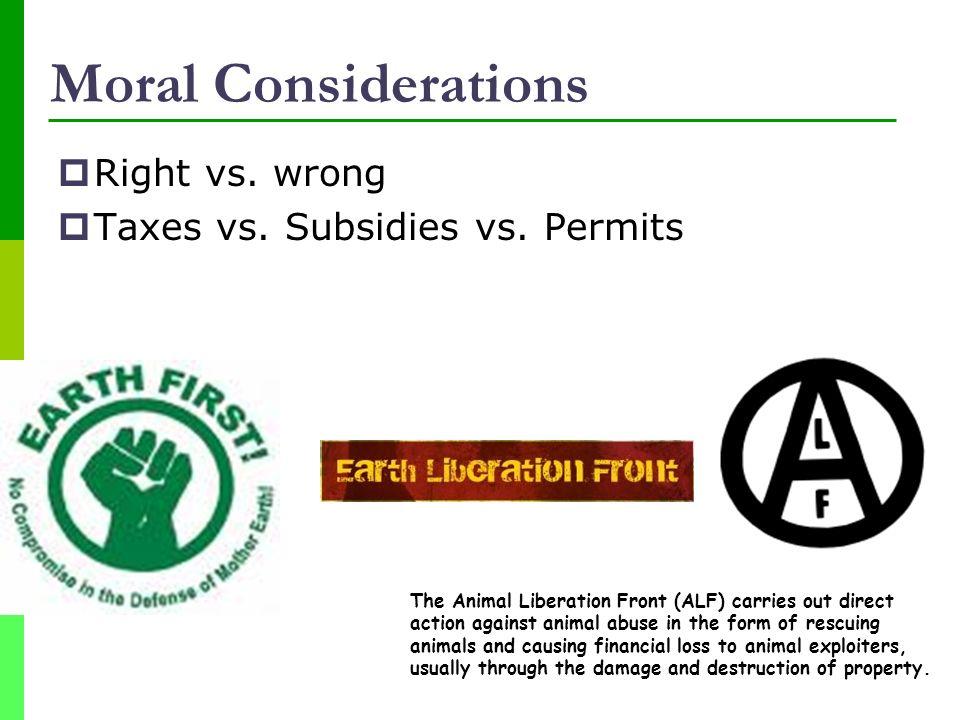 Moral Considerations Right vs. wrong Taxes vs. Subsidies vs. Permits