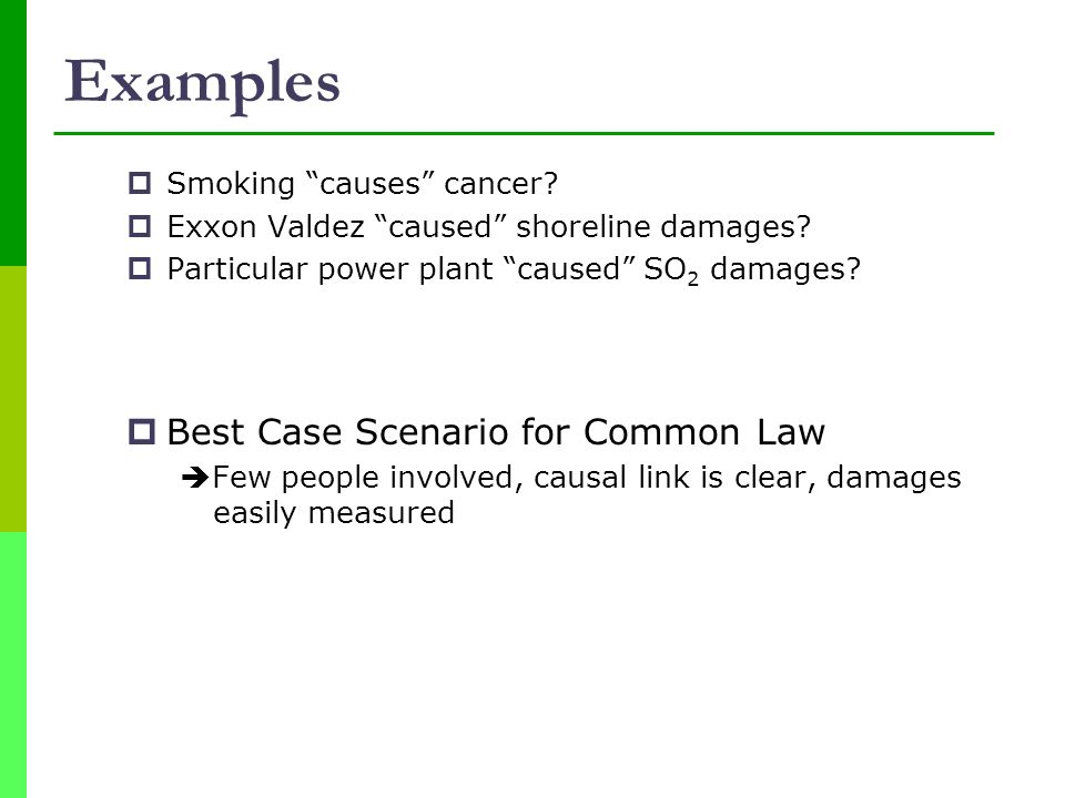 Examples Best Case Scenario for Common Law Smoking causes cancer