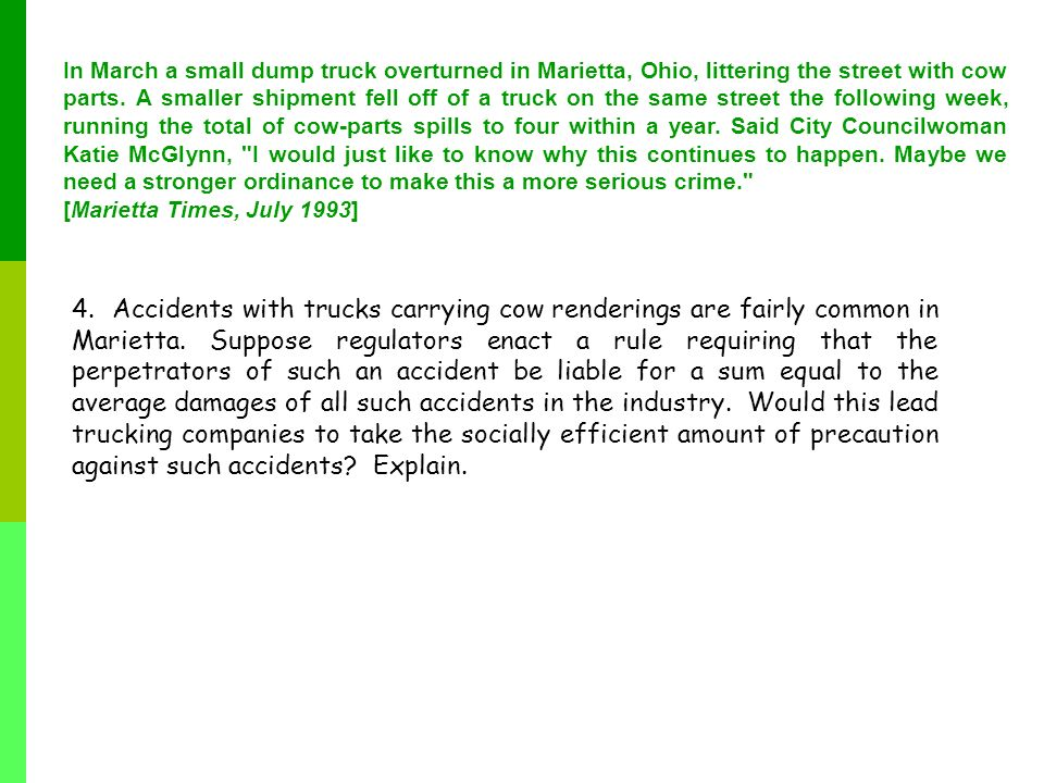 In March a small dump truck overturned in Marietta, Ohio, littering the street with cow parts. A smaller shipment fell off of a truck on the same street the following week, running the total of cow-parts spills to four within a year. Said City Councilwoman Katie McGlynn, I would just like to know why this continues to happen. Maybe we need a stronger ordinance to make this a more serious crime.
