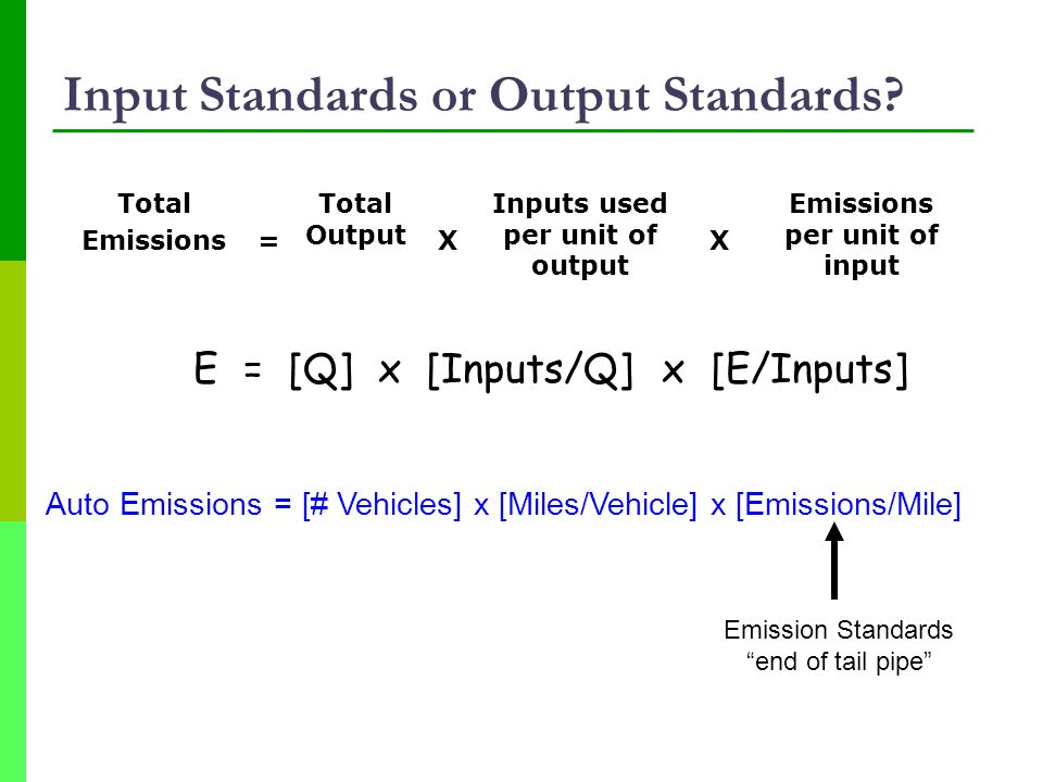 Input Standards or Output Standards