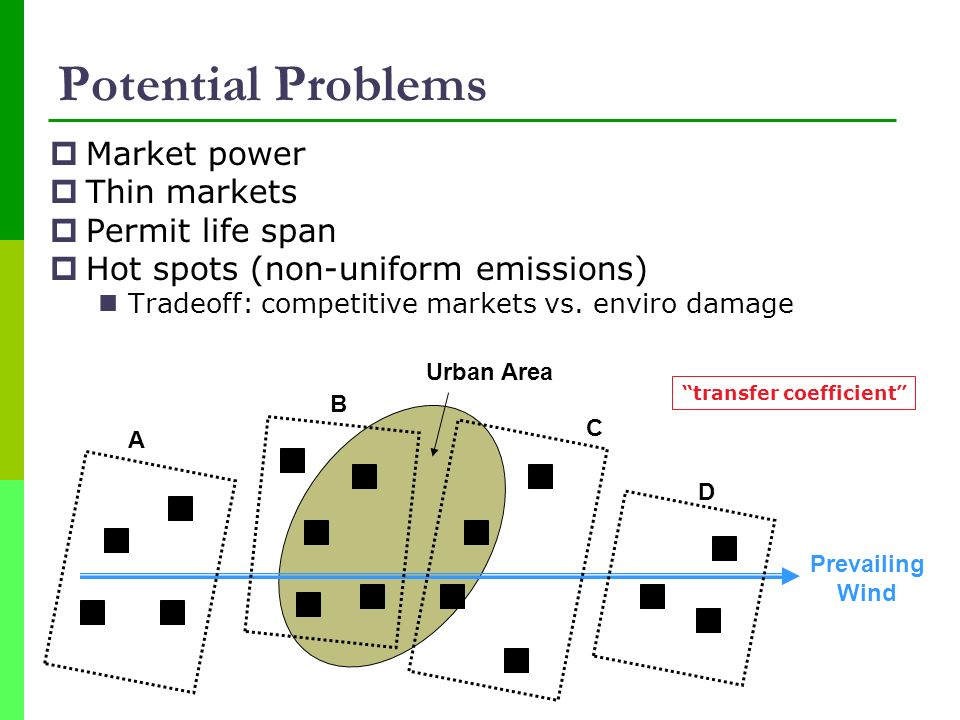 Potential Problems Market power Thin markets Permit life span