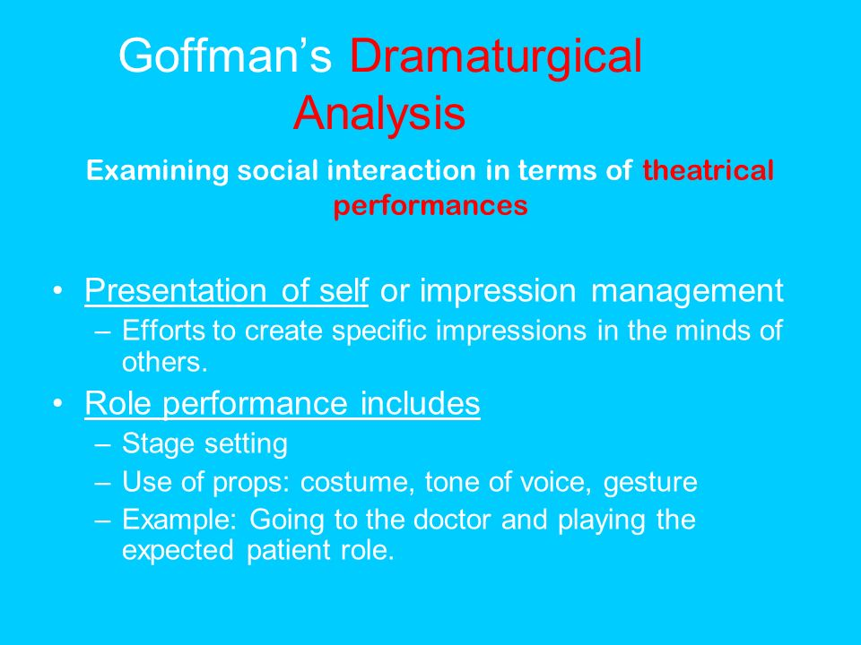 "goffman traits Goffman, erving 1951 ""symbols of class status"" the british journal of sociology 2(4): 294-304 status, position, and role have been used interchangeably ""to refer to the set of rights and obligations which governs the behaviour of persons acting in a given social capacity"" (294), but these rights and obligations tend to be fixed."